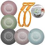 AIFUDA 5 tappi per capelli in silicone con 2 pezzi per rimuovere gli zoccoli di scarico, copriscarico della doccia, filtro per scarico del lavandino, protezione per cucina, bagno, vasca
