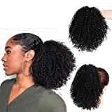 Vigorous Short Afro Curly Ponytail Hair Piece for African American Black Women Ponytail Extension Afro Drawstring Curly Ponytail for Women