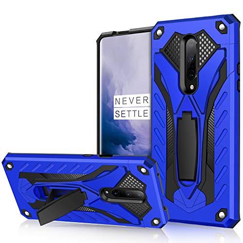 AFARER OnePlus 7 Pro Hülle, militärische Qualität auf 3,6 m Fallhöhe getestete Schutzhülle, Extrem-Schutz Rüstung Duale Schichte Gehäuse mit Klappständer für OnePlus 7 Pro - Blau