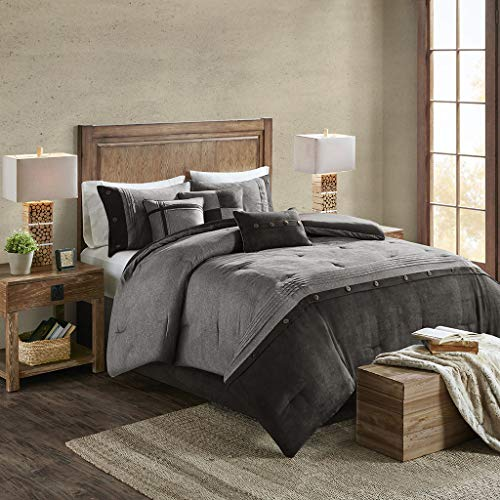 Madison Park Boone 7 Piece Faux Suede Comforter Embroidered Pillows, Bedskirt and Shams Cabin Style Soft Down Alternative Hypoallergenic All Season Bedding-Set, Cal King, Grey