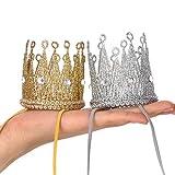 Qishare diademas elásticas de corona para bebé, niña, niño y dama, corona de tiara de princesa, sombrero de cumpleaños (oro + plata)