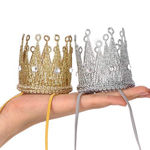 Qishare Baby Girl Boy Dame Foto Prop Krone Elastische Stirnbänder, Prinzessin Tiara Krone, Geburtstagshut (Gold + Silber)