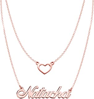 925 Sterling Silver Personalized Double Chain Name Necklace with Heart Pendant Custom Made with Any Name