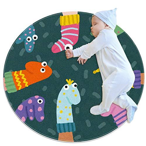 Marionetas De Calcetines Divertidos Alfombra de área redonda para alfombras antideslizantes para niños suaves con un regalo de superficie de gamuza para niños para sala de estar dormitorio 100x100cm
