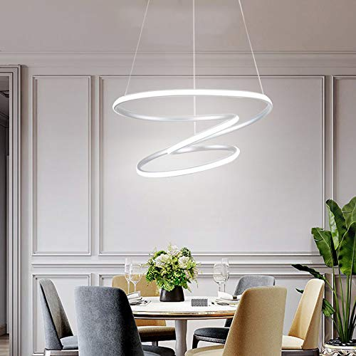 Lámpara de araña LED moderna, 6000 K, plata regulable, 70 W, longitud ajustable, adecuada para la isla de la cocina, el comedor, el salón