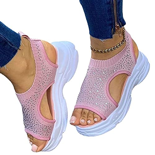 BLANSHAN Plataforma de cuña para Mujer Sandalias con Correa con Hebilla Al Aire Libre, Verano Playa Zapatos Casuales Confort y Soporte Sandalias con Pendiente Negro, Gris, Rosa