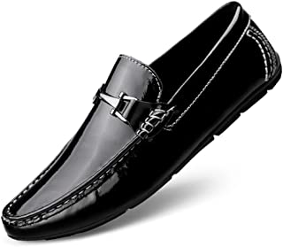 Aomoto Men's Driving Shoes Boat Moccasins Penny Loafer Casual Flat Slip On Genuine Leather Upper Round Toe