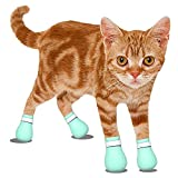 Cat Anti-Scratch Shoes Boots Cover - Pet Caring Adjustable Soft Safe Baby Green Silica Gel Cat Paw Protector for Bathing,Barbering Nail Clipping Body-Checking Feeding Medicine Ears Cleaning