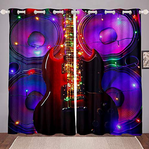 Cortinas de guitarra con purpurina para decoración de guitarra, para dormitorio, sala...