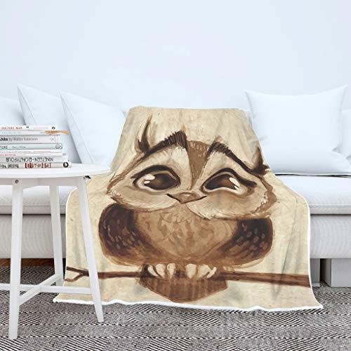 AXGM Damen Herren Tagesdecke Decke Kuscheldecke Wohndecke Eulen Tier Karikatur Braun Druck Couchdecke Weich Wohnzimmer Tagesdecke White 150x200cm