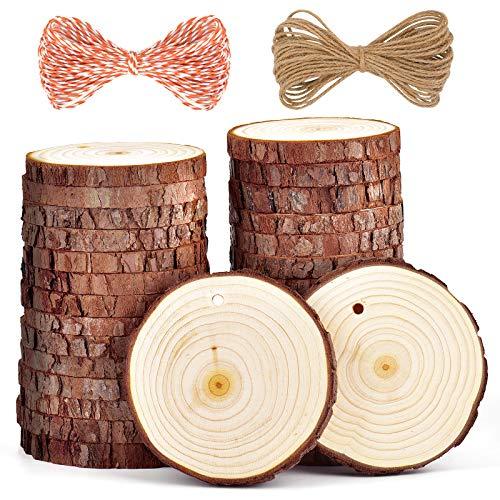 5ARTH Rondin De Bois Naturel - 30 Pcs 7-8cm Kit Bois Brut Non Fini Pré-percé avec Trou Cercles Tanche de Bois pour Pyrogravure, Dessous de Verre Bois, Rondin de Bois Deco Noel