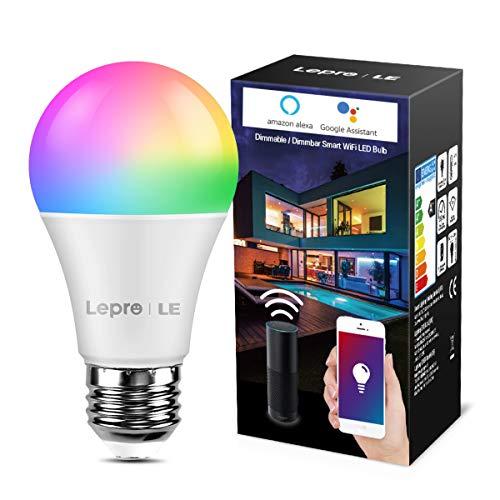 LE Lampadina LED WiFi Intelligente E27 9W, Compatibile con Alexa e Google Assistant, Luce Dimmerabile RGB + Bianco Caldo 2700K, Smart Lampadine LED RGBW Controllo da App Smartphone iOS&Android