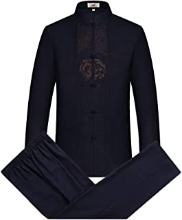Tang Suit Men Traditional Chinese Clothing Suits Hanfu Cotton Long Sleeved Shirt Coat Mens Tops Pants