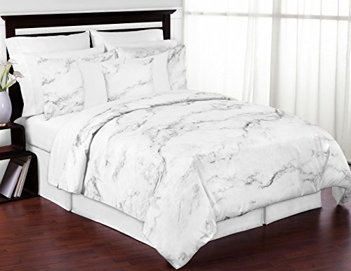 Modern Grey, Black and White Marble 3 Piece Full/Queen Bedding Set Collection