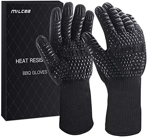 MILcea BBQ Gloves 1472 F Extreme Heat Resistant Gloves for Grill Cooking Grill Gloves for Handling product image
