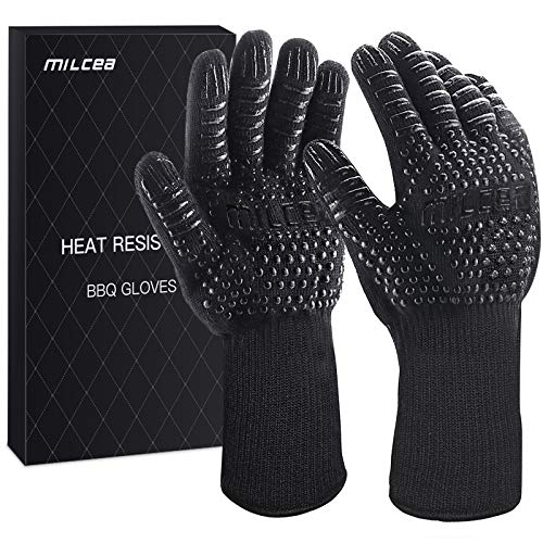 MILcea BBQ Gloves 1472° F Extreme Heat Resistant Gloves for Grill Cooking Grill Gloves for Handling Heat Food Right on Your Fryer Grill or Oven Waterproof Fireproof Oil Resistant Black