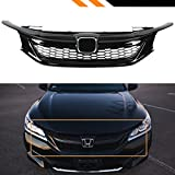 Fits for 2016-2017 9th Generation Honda Accord Sedan Gloss Black Out Sport Style Mesh Front Grille...