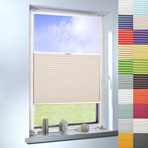 Sun World Plissee nach Maß, Klemmfix ohne Bohren,hochqualitative Wertarbeit, für Fenster und Türen, Rollo, Jalousie, Sichtschutz, Maßanfertigung (Farbe: Beige, Farbmuster 20x20cm)