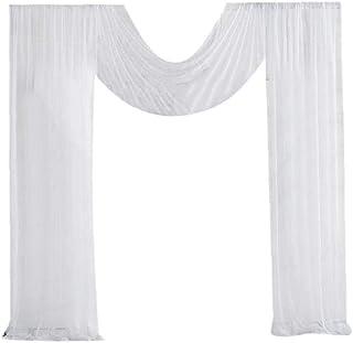 Paire de vitrages Dentelle et Jacquard Unisexe CARRE D AZUR Taille : 160X44 Couleur : Blanc