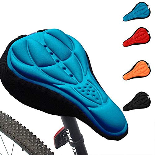 3D Bike Saddle Cover Gel Soft Seat Covers for Mountain Bicycle Indoor Spinning Blue 1 unids