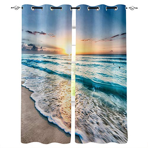 Window Treatments Curtains Room Window Panel Set for Living/Dining/Bedroom, Ocean Theme Sand Beach Wave Sea Water Pattern 52 by 52 Inch, 2 Panels