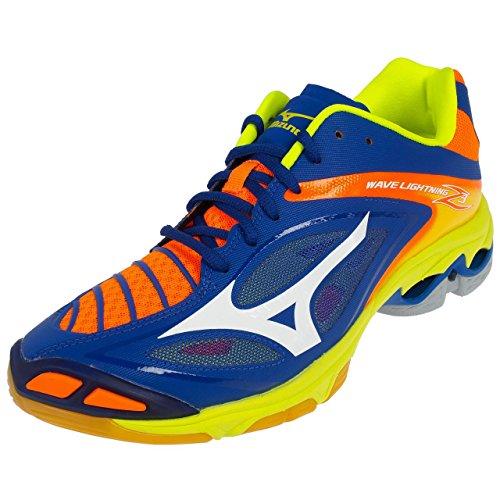 Mizuno Herren Wave Lightning Z3 Volleyballschuhe, Mehrfarbig (Surftheweb/White/orangeclownfish), 43 EU