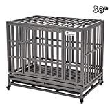 SMONTER 38' Heavy Duty Dog Crate Strong Metal Pet Kennel Playpen with Two Prevent Escape Lock, Large Dogs Cage with Wheels, Dark Silver