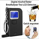Klaury Alcol Tester Portatile,Etilometro Digitale Alcohol Meter Parcheggio Auto Rilevatore Gadget con 5 Bocchino Pieghevole