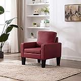 UnfadeMemory Sofá de Salon con Cojines,Muebles de Hogar,Estructura de Madera,Tapicería de Cuero Sintético (Sillón 77x71x80cm, Rojo Vino Tinto)