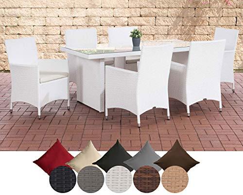 CLP Polyrattan Sitzgruppe Avignon (Tisch 180 x 90 cm + 6 x Polyrattan Stuhl Julia + Sitzauflagen), bis zu 5 Rattan-Farben + 5 Bezugsfarben wählbar Rattanfarbe: Weiß, Bezugfarbe: Cremeweiß