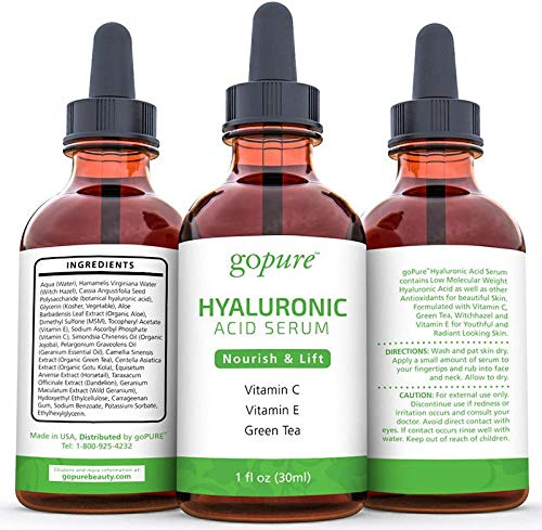 51ma0qcNYRL - goPure Hyaluronic Acid Serum for Face - Anti Aging Serum with Vitamin C & E, Green Tea - Anti Wrinkle Hydrating Serum - Facial Moisturizer Collagen Serum - Helps Hydrate and Plump the Skin