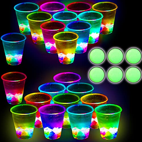 Glowing Party Beverage Pong Game for Indoor Outdoor Party Event Fun, Pack with Flashing Color Bright Glow-in-The-Dark Colors for House Parties Birthdays Concerts Weddings BBQ Beach Holidays