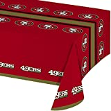 Creative Converting Officially Licensed NFL Plastic Table Cover, 54x102, San Francisco 49ers
