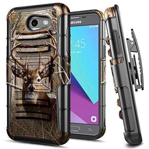 Galaxy J3 Prime Case, J3 Luna Pro / J3 Emerge / J3 Eclipse / J3 Mission / J3 2017 (SM-327) E-Began Belt Clip Holster with Kickstand Protective Hybrid Cover Heavy Duty Shockproof Rugged Case -Deer