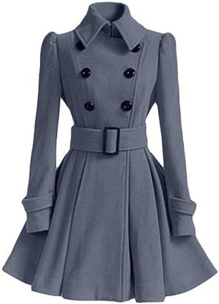 Adelina Damen Frauen Mantel Kleider Elegant Winter Klassische Vintage Zweireihig Revers Schlack Fashionable Completi Trenchcoat Wollmantel Mantel Kleid Wintermantel Outwear Grau