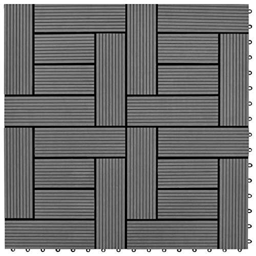 SHUJUNKAIN Set 11 baldosas Grises 30 x 30 cm de WPC, 1 Metro Cuadrado Bricolaje Materiales de construcción Suelos y moquetas Gris