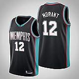 YZQ Jerseys De Baloncesto De Los Hombres, Memphis Grizzlies # 12 Ja Morant Uniformes De Baloncesto De La NBA Camisetas Casuales Chalecos Deportivos,Negro,M(170~175CM)
