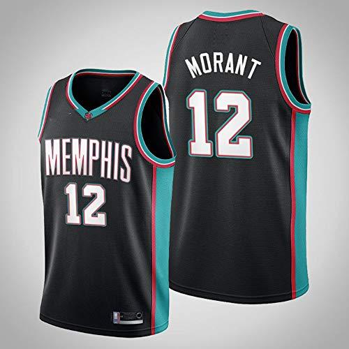 YZQ Jerseys De Baloncesto De Los Hombres, Memphis Grizzlies # 12 Ja Morant Uniformes De Baloncesto De La NBA Camisetas Casuales Chalecos Deportivos,Negro,S(165~170CM)