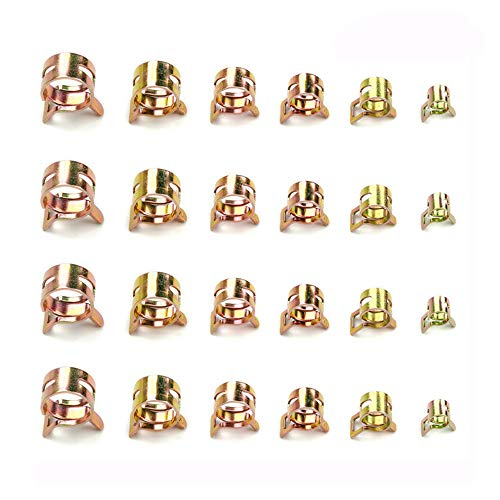 VEGET 60 pcs Spring Band Type Clamp Action Fuel Silicone Vacuum Hose Pipe Tube Clamp Steel Wire Tube Low Pressure Air Clip Clamp Fasteners Assortment Kit (7mm 10mm 11mm 14mm 16mm 17mm)