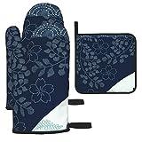 Rcivdkem Wave Quilt with Sashiko Border X 3- Piece Set Heat Resistant Oven Gloves,Oven Gloves,Cooking Mitts