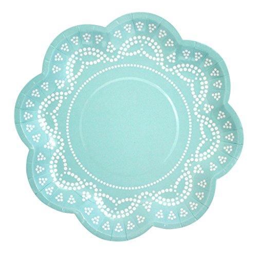 InviteMe 10 Blumen-Förmige Papp-Teller mit Weißem Spitzen-Perlen-Muster in Mint-Grün