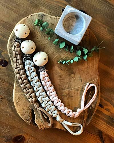 Schnullerband/Schnullerkette Textil - Stoff Jungen Mädchen - Makramee - Boho - geflochten - dezent - natürlich - Geschenk - Baby - Geburt