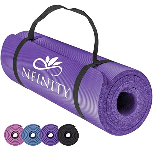 Yoga Mat Exercise NBR Fitness foam mat Extra Thick Non-Slip Large Padded High Density for Pilates gymnastics stretching Fitness & Workout with Free Carry Strap. (Purple)
