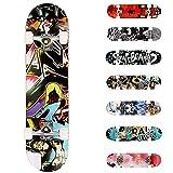WeSkate Completo Skateboard para Principiantes, 80 x 20 cm 7 Capas Monopatín de Madera de Arce con rodamientos ABEC-7...