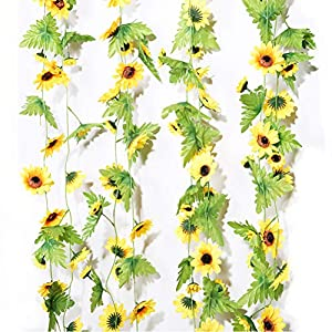 LZXD 2 Pack 16 FT Fake Sunflower Vine Artificial Flowers Hanging Sunflowers Ivy Home Hotel Office Wedding Party Garden Background Decor