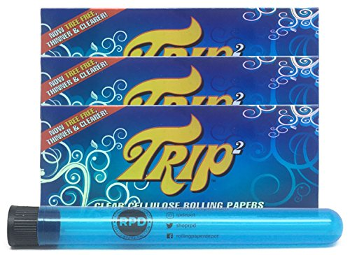 Trip 2 Cellulose Clear Rolling Papers King Size (3 Packs) with Rolling Paper Depot XL KewlTube