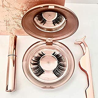 Rose Gold Magnetic Eyeliner and Lashes Kit – Rose Gold Gift Set with Magnetic Eyeliner, Full Coverage Triple Magnet Eyelashes and Rose Gold Magnetic Eyelash Application Tool