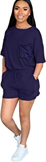Casual Shorts Sets Women 2 Piece Outfits Sexy Clubwear Summer Solid Color Lounge Set Shorts and Tops Shirt With Pockets