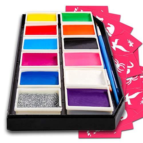 Kinderschminke für empfindliche Haut - Gesichtsmalfarbe Set mit 12 Farben - 3 Pinsel, 30 Schablonen - extra leicht abwaschbar - Fasching Schmink Set - ungiftige Gesichtsfarbe für Kinder