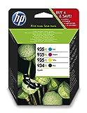 HP 934XL-935XL X4E14AE, Pack de 4, Cartuchos de Tinta Originales Negro y Tricolor, compatible con impresoras de inyección de tinta HP OfficeJet 6820; HP OfficeJet Pro 6230, 6830